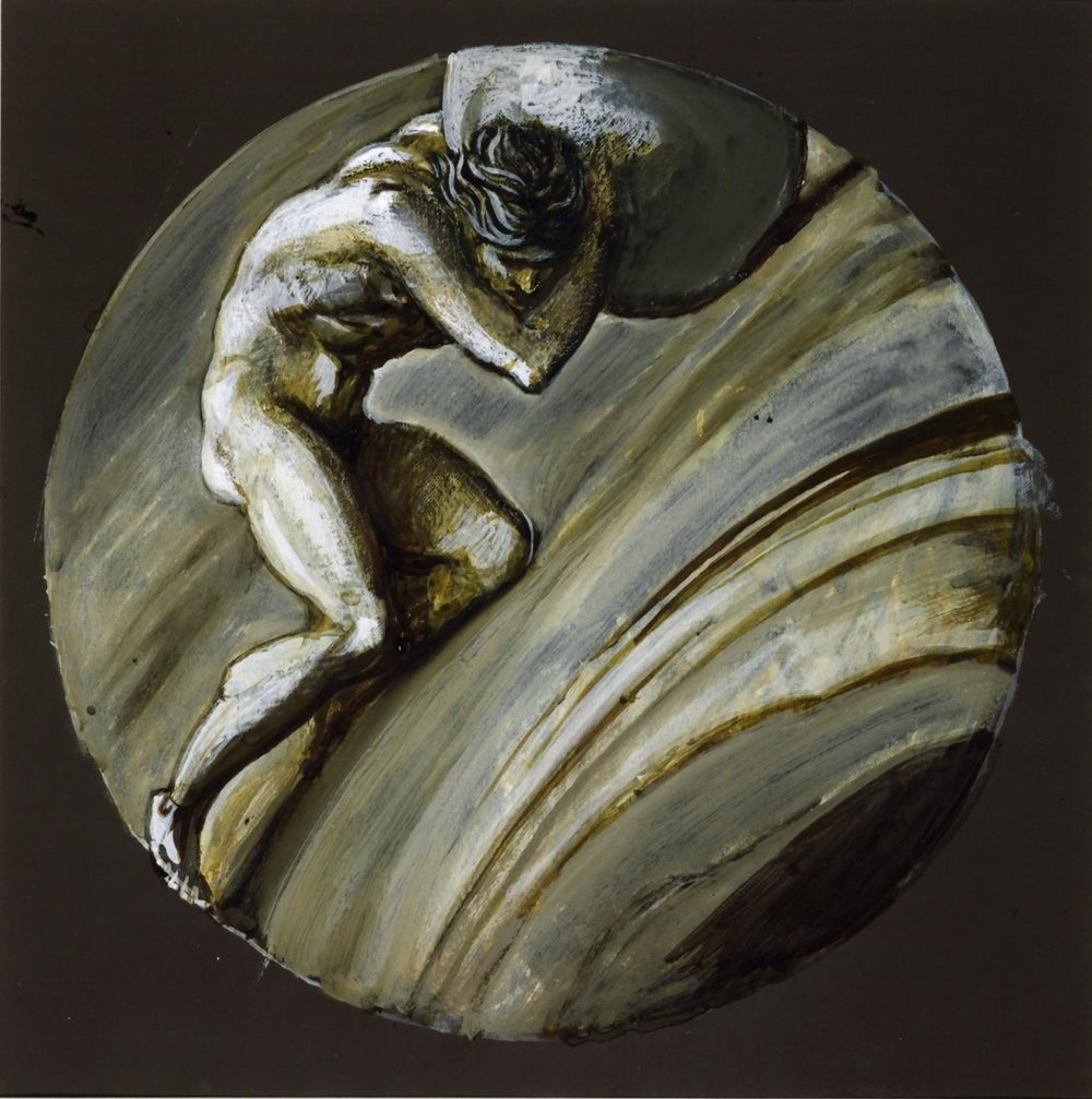 Sisyphus by Sir Edward Coley Burne-Jones, Bt. 1870. Source: The Tate Collection