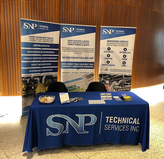 Our Energy Education booth set up at the @uwindsor engineering building for the Energy & Sustainability Summit 2018 #energy #sustainable #sustainability #snptech