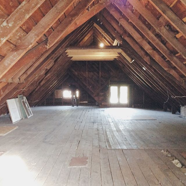 BEFORE & AFTER: the attic was once unused space and is now be a bachelor loft...visit our website for rental inquires