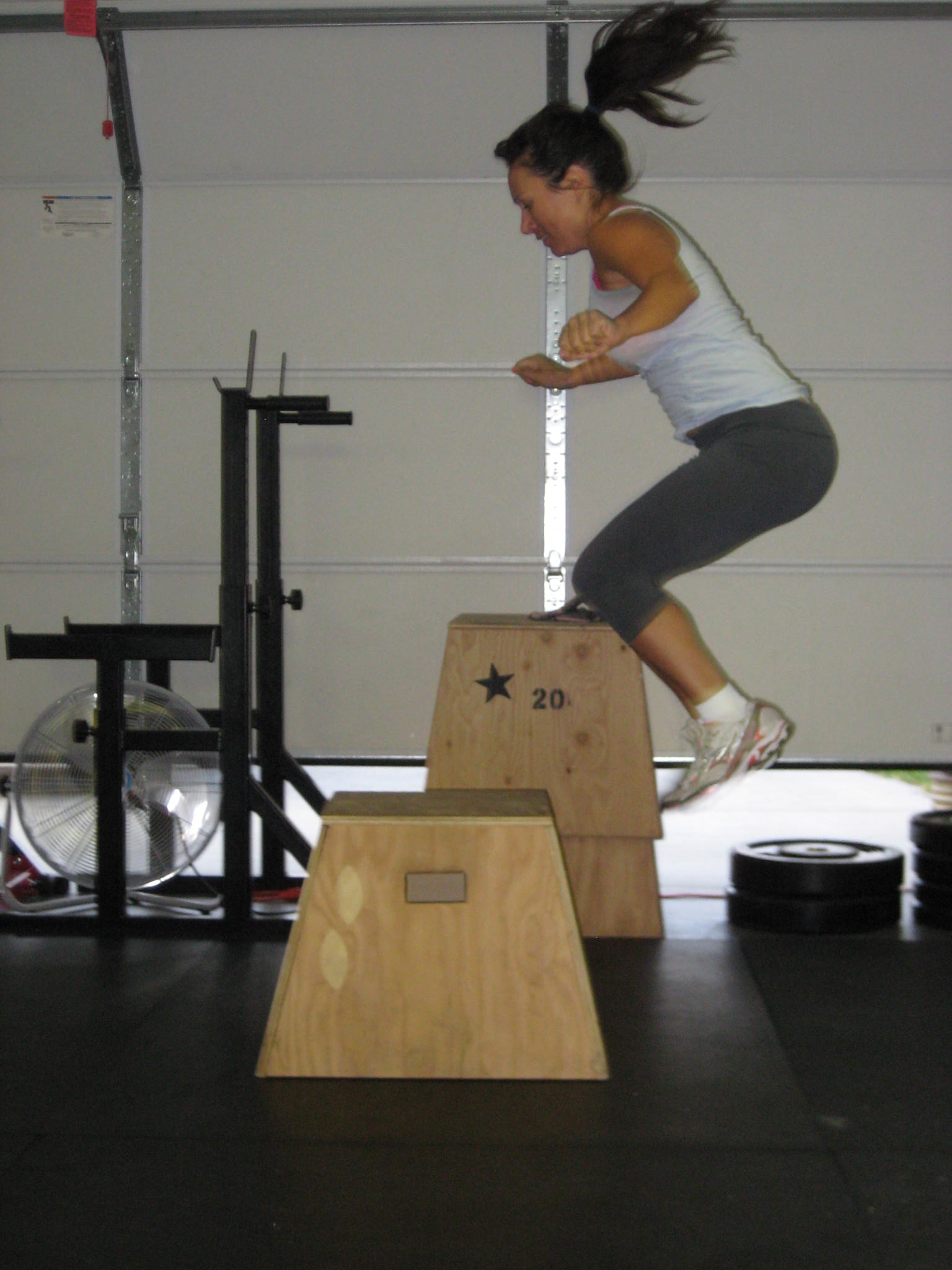 Tandy gettin some Box Jumps back in the Garage days.