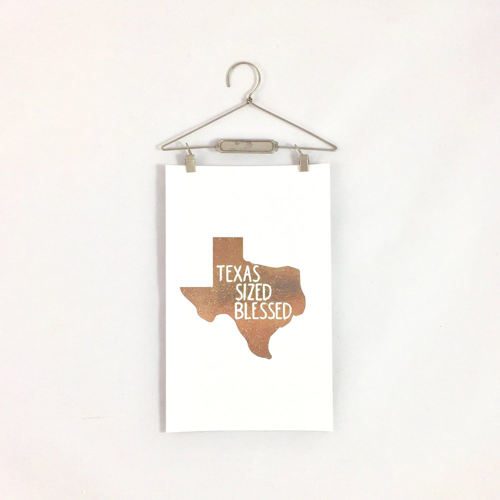 "Our ""Texas Sized Blessed"" Metallic Hanging Print is one of the many new products arriving to the shop in 2017!"