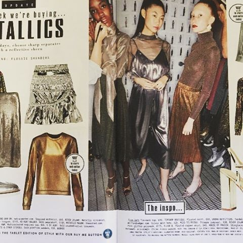 It's all about those metallics! Huge thanks to @flossiesaunders for our sparkly appearance in You Magazine. Metallic rollnecks coming soon instore. #autumnwinter16 #metallics #madeinlondon #fleurb