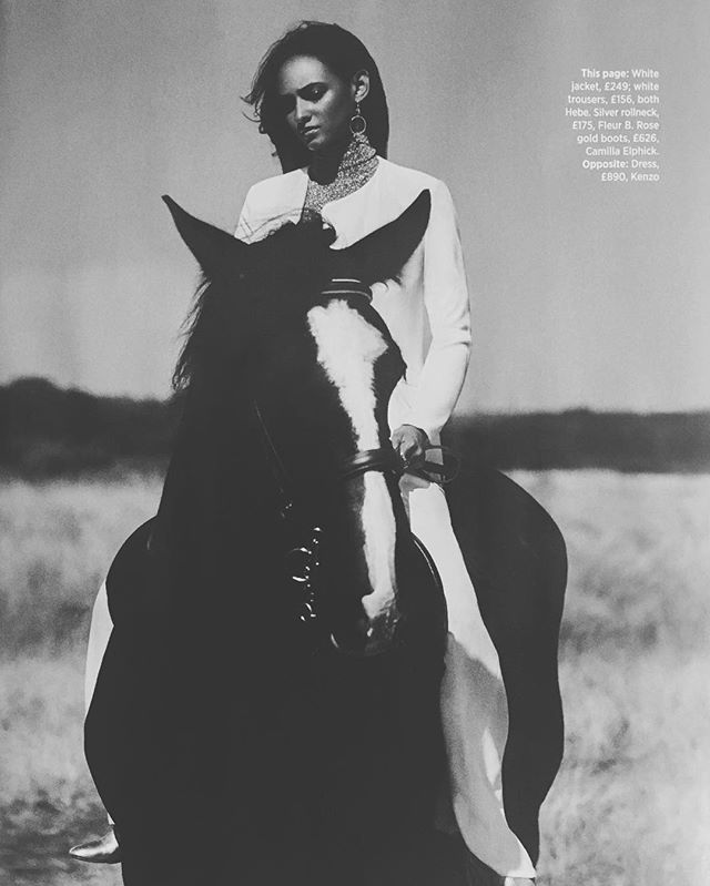 We love this beautiful shot of our Fleur b silver glitter roll neck in November's @cosmopolitanuk //coming soon in store and online // #fleurb #madeinlondon #londonboutique #countrylife #ridingfashion