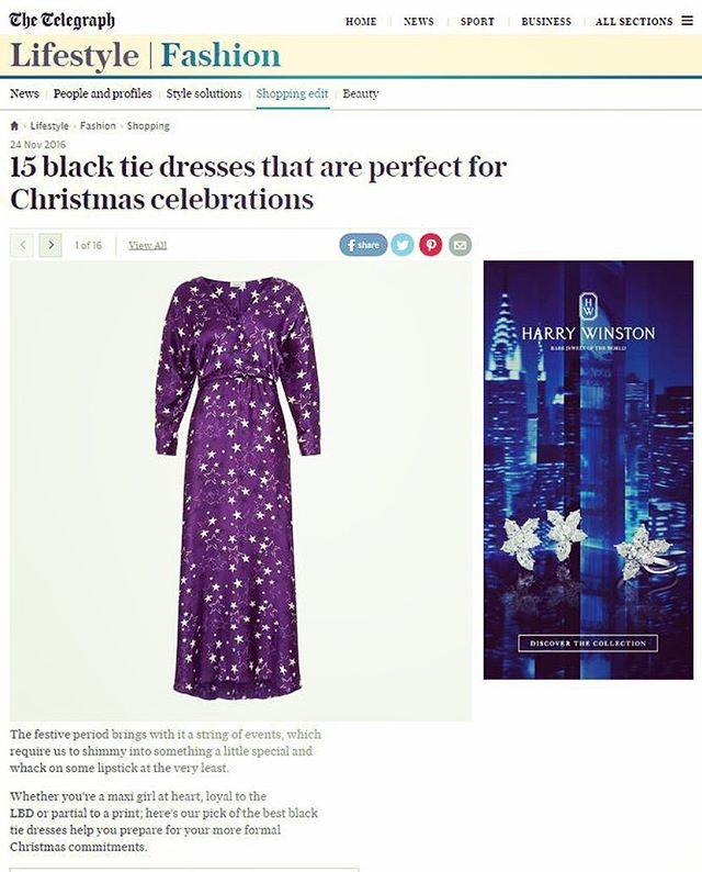 Thank you @telegraphfashion for including our starburst maxi in your black tie dress edit 💜👗perfect for that Christmas party 🎉 #starburst #maxi #fleurb #madeinengland #chelseaboutique
