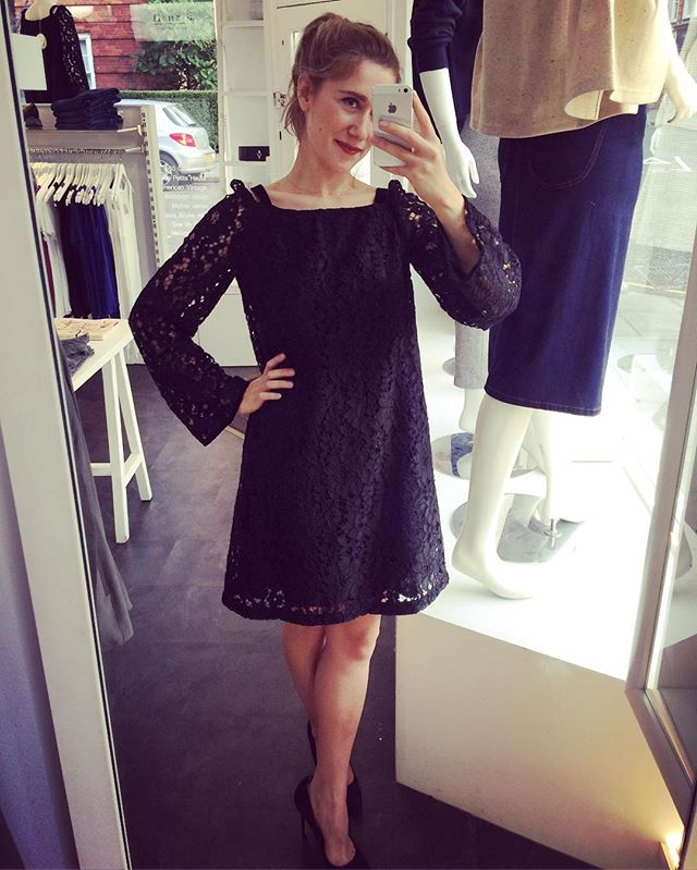 It's Saturday and our Alex is ready to party is this gorgeous #seebychloé black lace dress. We love the 60's vibe! 😘💃🎉 // In store now // call 02072253050 for details // #fleurb #chelseaboutique #littleblackdress #partydress #60sfashion #bridgetbardot