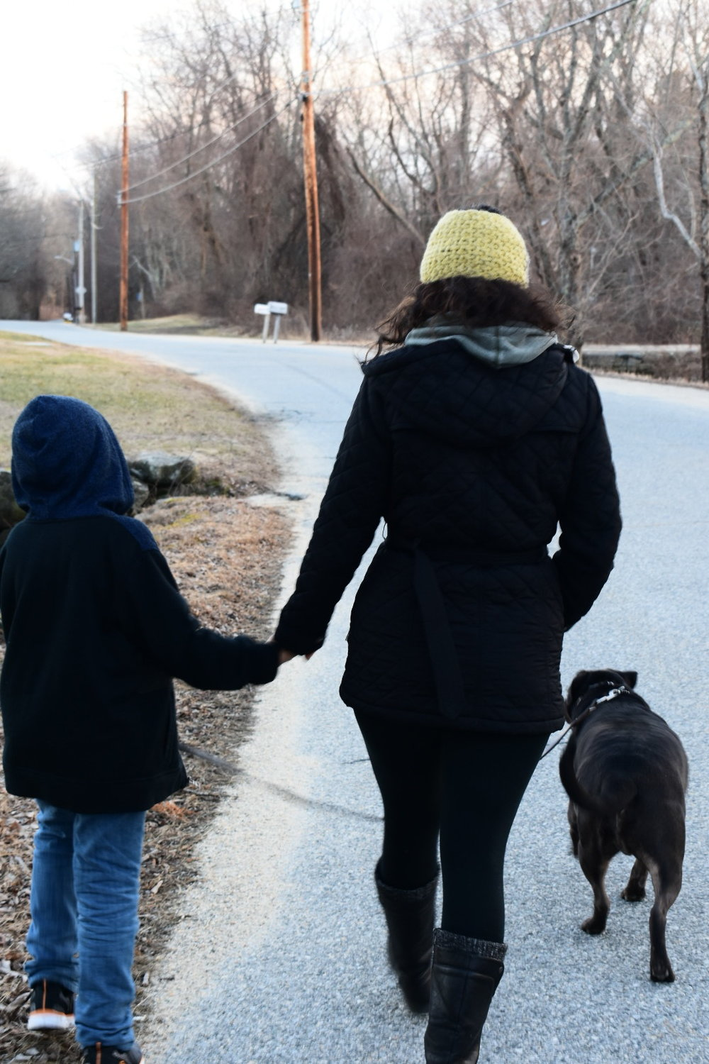 Me and my son on an evening walk with our dog, Marciello  Photo Credit: Nicholas Galvan