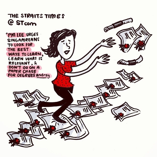 regram @sketchpoststudio During last night's #ndrsg, @leehsienloong urged #singapore against going on paper chases for degrees. Hmm.. will employers think the same way? @straits_times #igsg #ndr2014 #sketch #quotes #instaart #SketchPost