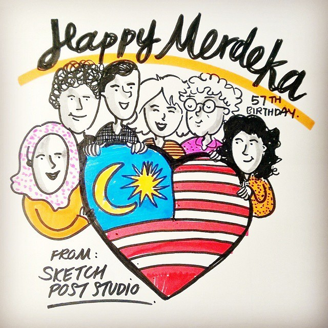 regram @sketchpoststudio Selamat Hari Merdeka, fellow Malaysians! Have a wonderful #weekend :) #Merdeka #merdeka57 #doodle #sketch #art #instaart #happy