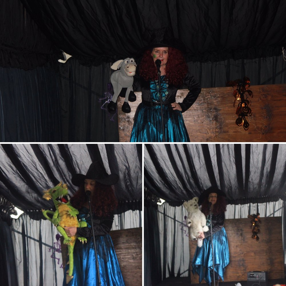 Brocksbushes farm shop and tea room Halloween 2016 Northumberland pumpkin patch kids events baby toddler. Eileen and Joe children's entertainer dressed as a witch, with puppets