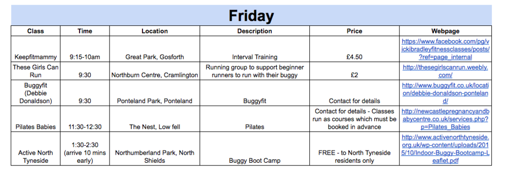 Baby-friendly exercise timetable Newcastle Gateshead North Tyneside no childcare Friday