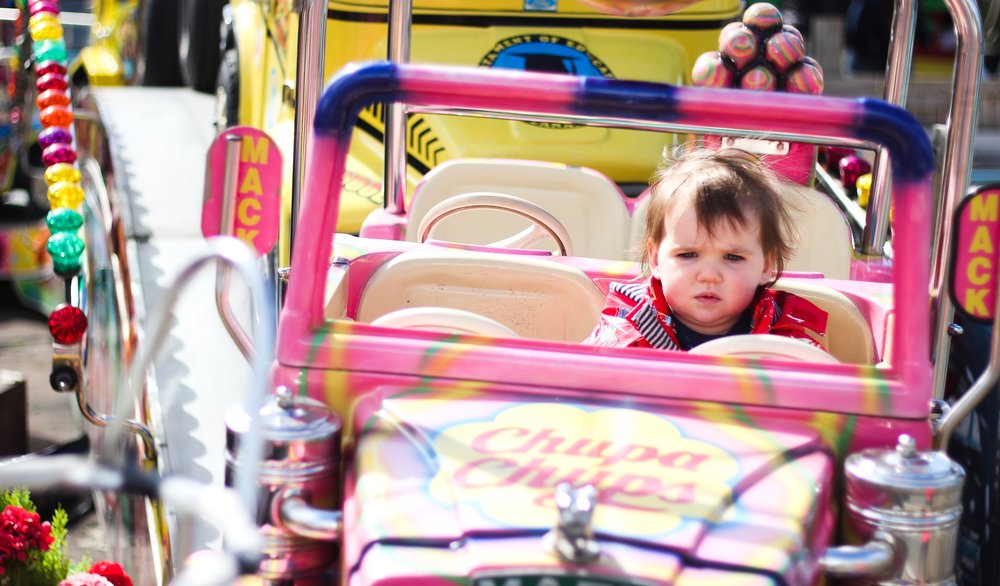 Sprog on the Tyne Ocean Beach South Shields Fairgrounds with toddlers Car ride