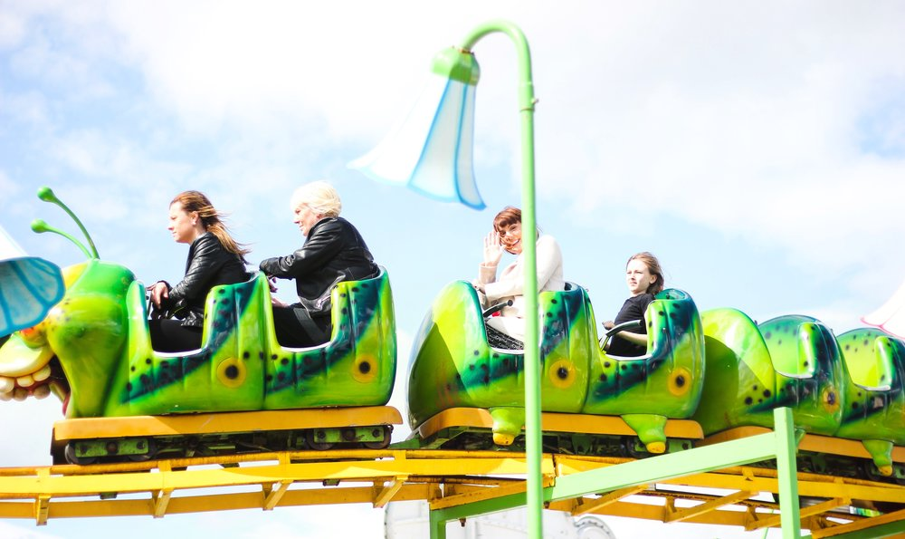 Sprog on the Tyne Ocean Beach South Shields Fairgrounds with toddlers Caterpillar rollercoaster
