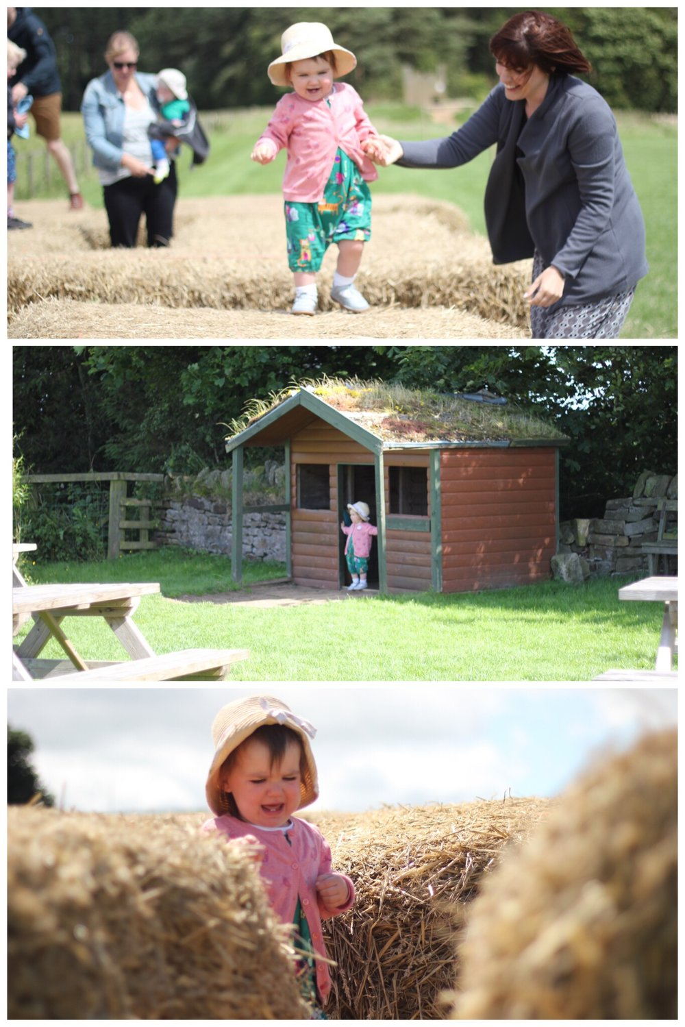 Broom House Farm Coffee Shop Play Equipment Children Sprog on the Tyne Hay Bale Maze Play House