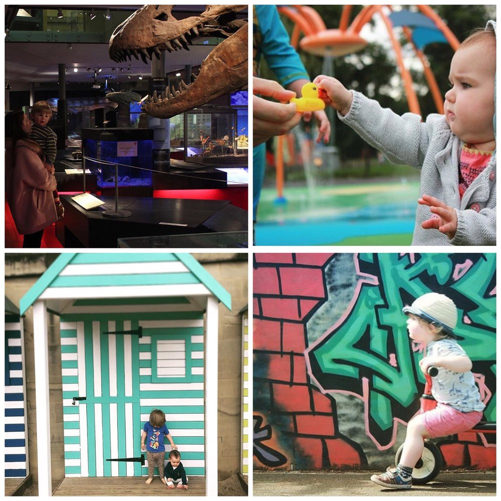 Clockwise from left - Great North Museum, Chester le Street Riverside Park, Quayside Beach, Shiremoor Adventure Playground