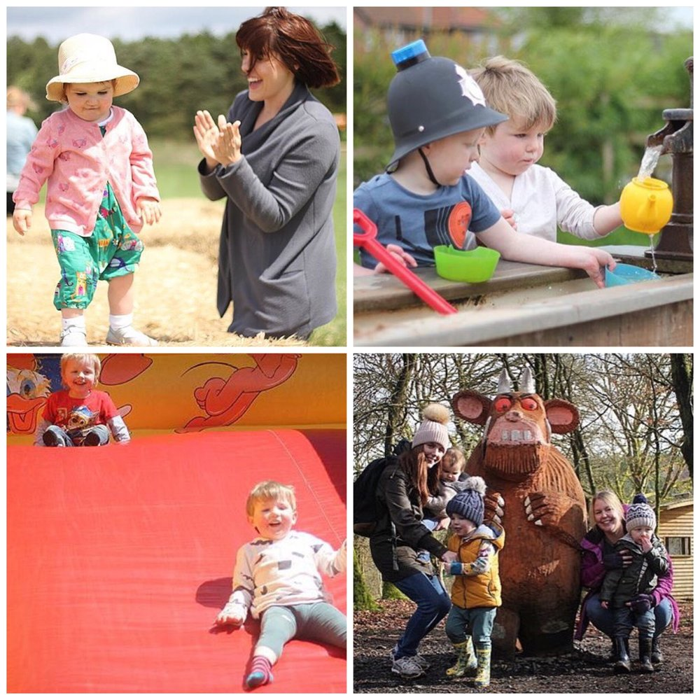 Clockwise from left - Broom House Farm - Durham, Moorhouse Farm - Morpeth, Bouncy castle at Saltwell Park, Gruffalo Spotting in Kielder Forest