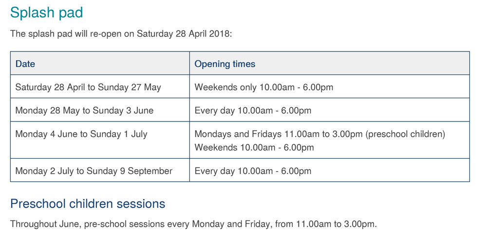 Chester le Street Splash pad opening times.