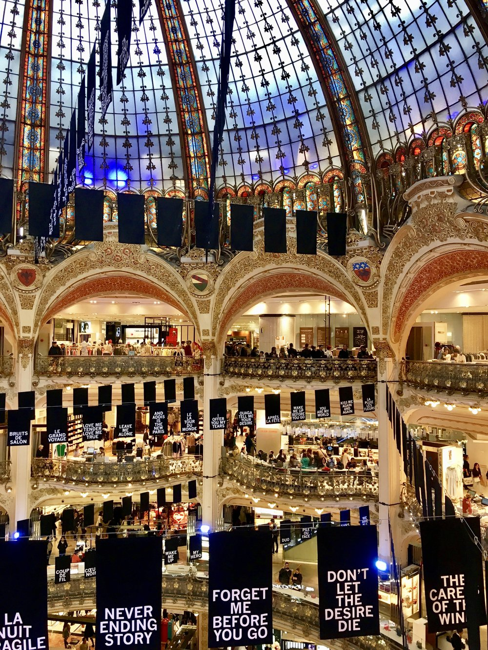 The interior of Galleries Lafayette department store.