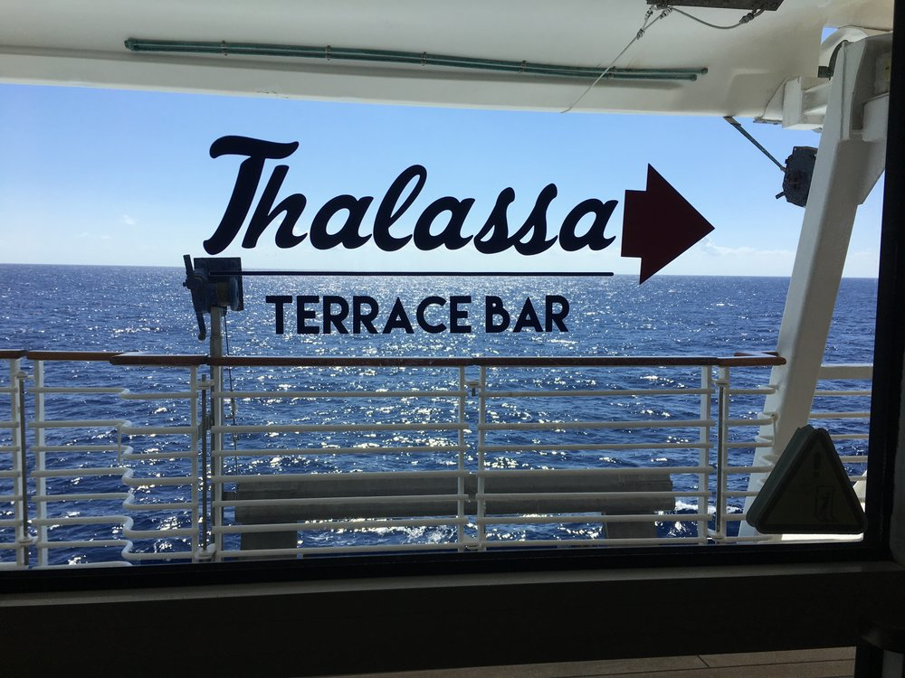 Outdoor bar at Aft of ship
