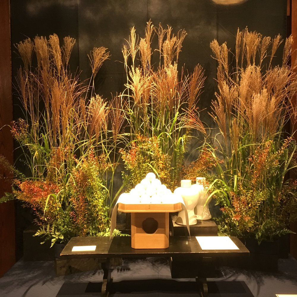 Vignette celebrating harvest time of rice plants