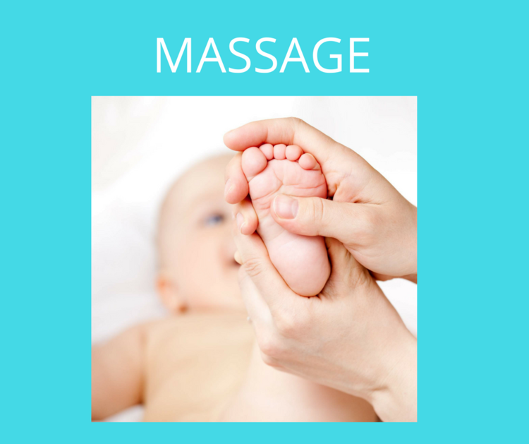 "Infant massage is a gentle and comfortable ""hands-on"" experience of applying massage techniques to an infant's body, limbs, head and face.  The duration of each session is determined by the baby."