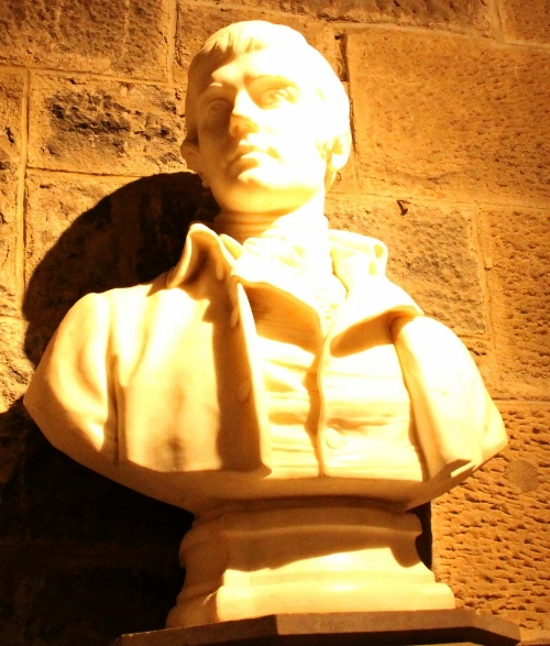 Bust of Robert Burns in the  Wallace Monument  in Stirling, Scotland. Taken by Pamella Stoddard  For more information on Robert Burns:   www.robertburns.org    Poetry Foundation