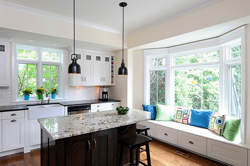 Stylized kitchens with bay windows