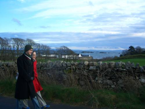 Dylan & Claire. The wee drams kept us warm as we walked between distilleries.