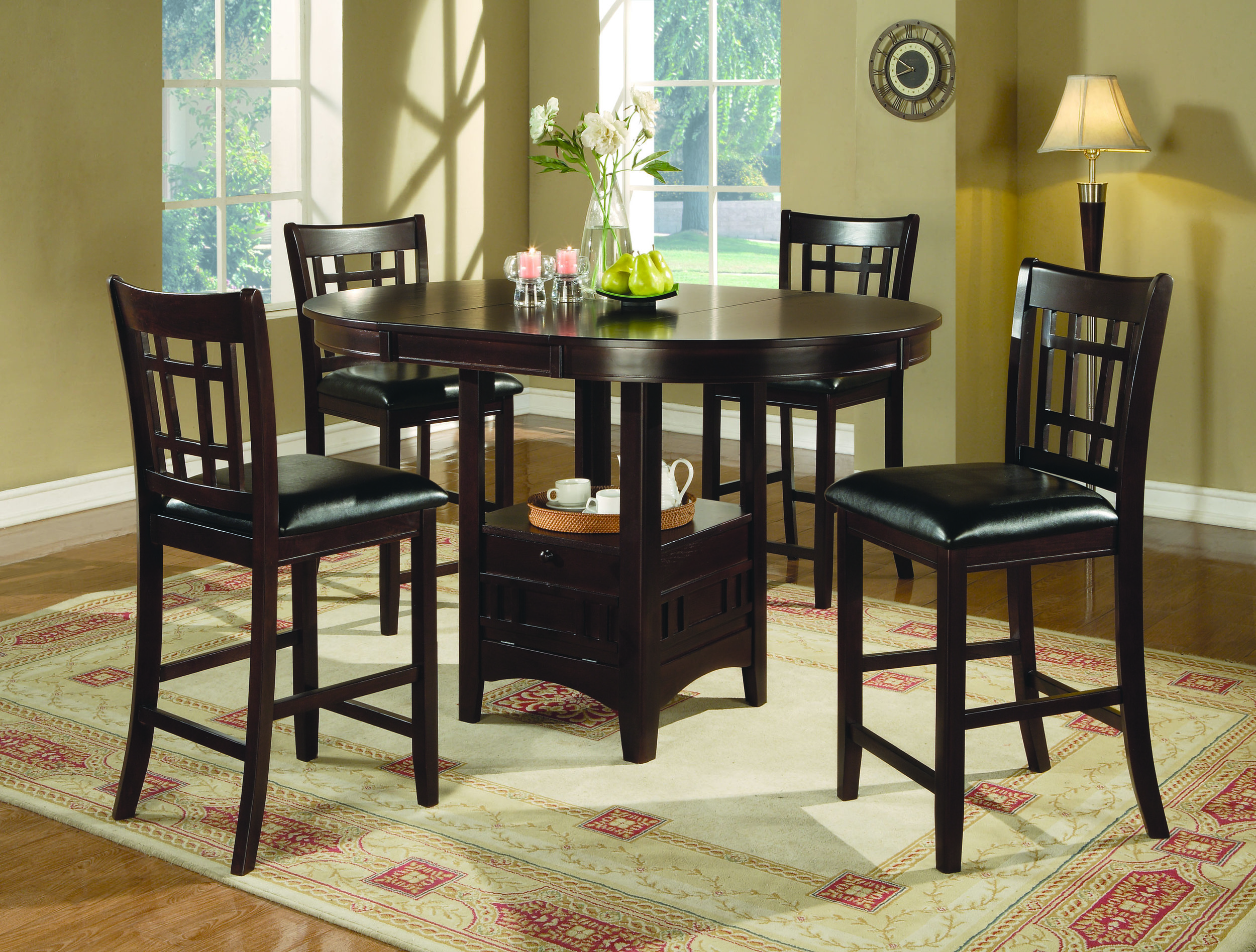 Empire Counter Height Dining Set Espresso Table Walnut