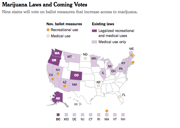 Laws in Ohio and Pennsylvania have not yet taken effect. Arkansas has two ballot measures. Montana residents will vote on a proposal to liberalize an existing medical marijuana law that allows dispensaries to serve only three users each. Some states not highlighted here allow limited access to certain medical marijuana products. Sources: National Conference of State Legislatures; Ballotpedia By The New York Times