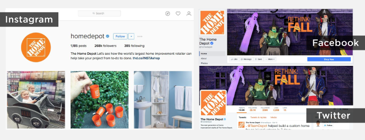 The distinctive Home Depot logo and orange color provide the company's social accounts with the same visual branding as its stores, advertisements, and website.