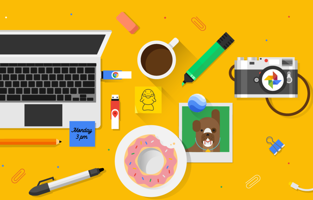 Featured Project - Google Social: Since 2015, we've enjoyed an ongoing partnership with Google's official social media team to help brainstorm and design snackable illustrations for their social feeds and dynamic headers for each channel.