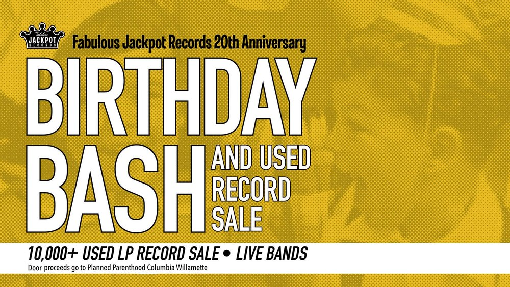 Jackpot Records 20th Anniversary Birthday Bash, Record Sale, and Live Show