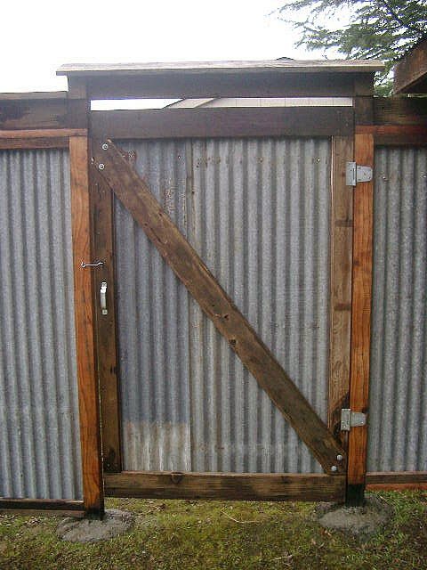 reclaimed corrugated metal fence gatejpg