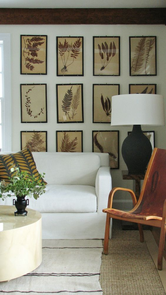 LIVING ROOM GALLERY WALL | botanicals | via  Lauren Liess