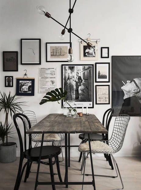 DINING ROOM GALLERY WALL | black & white | via  Coco Lapine Design
