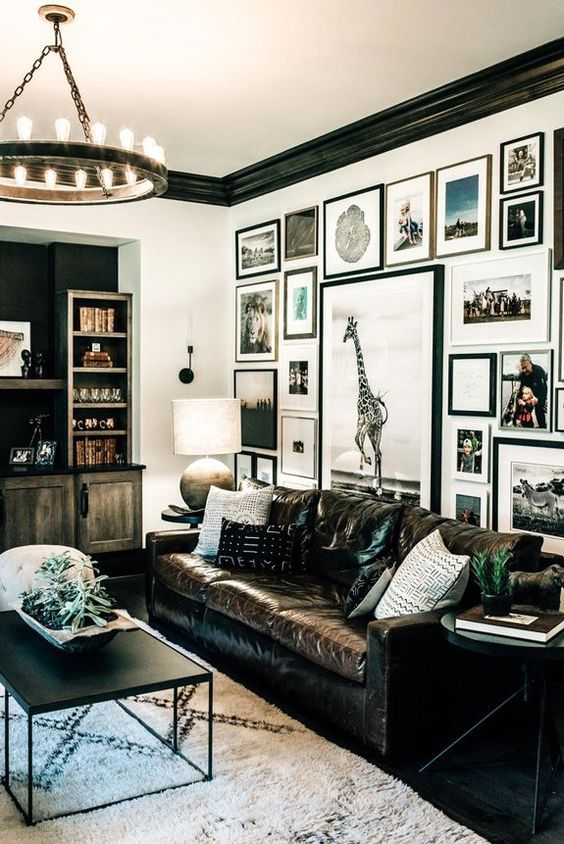 LIVING ROOM GALLERY WALL | black white travel photography | via  Desire to Inspire