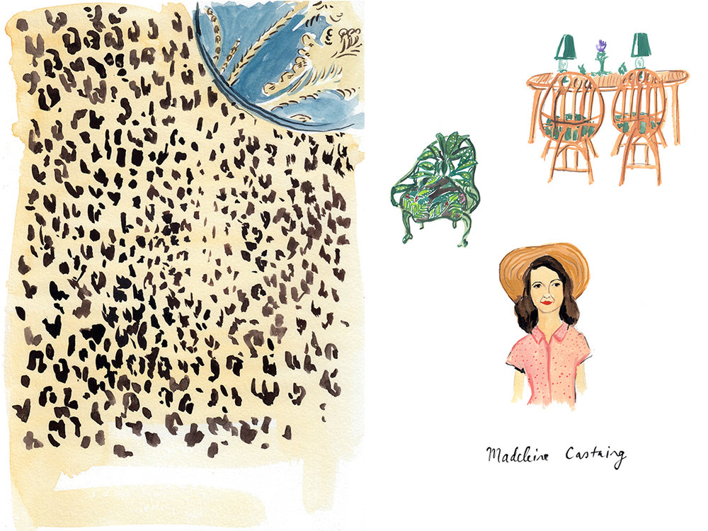 A leopard-print rug and furniture from Villa Santo Sospir, designed by Madeleine Castaing