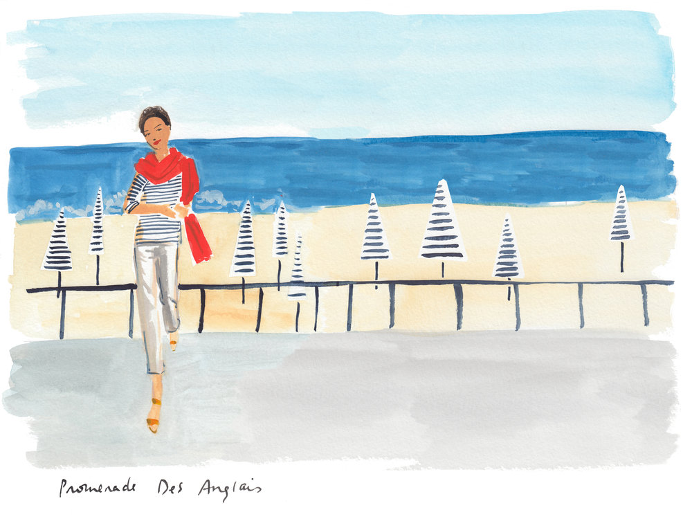 An illustration from the Nice chapter, inspired by my mother, below, on the Promenade des Anglais.