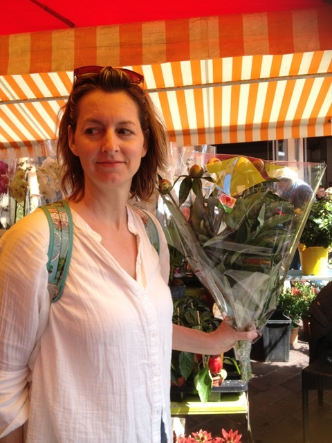 At the flower market with my peonies
