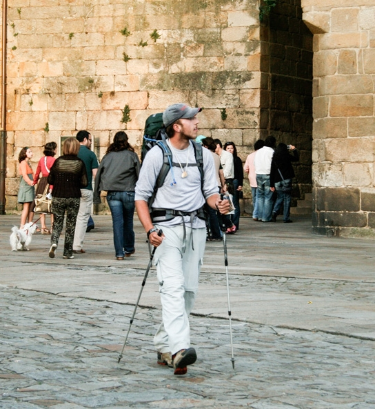 Pilgrims arrive in the Cathedral plaza throughout the day. For most it is the completion of the longest walk of their lives.