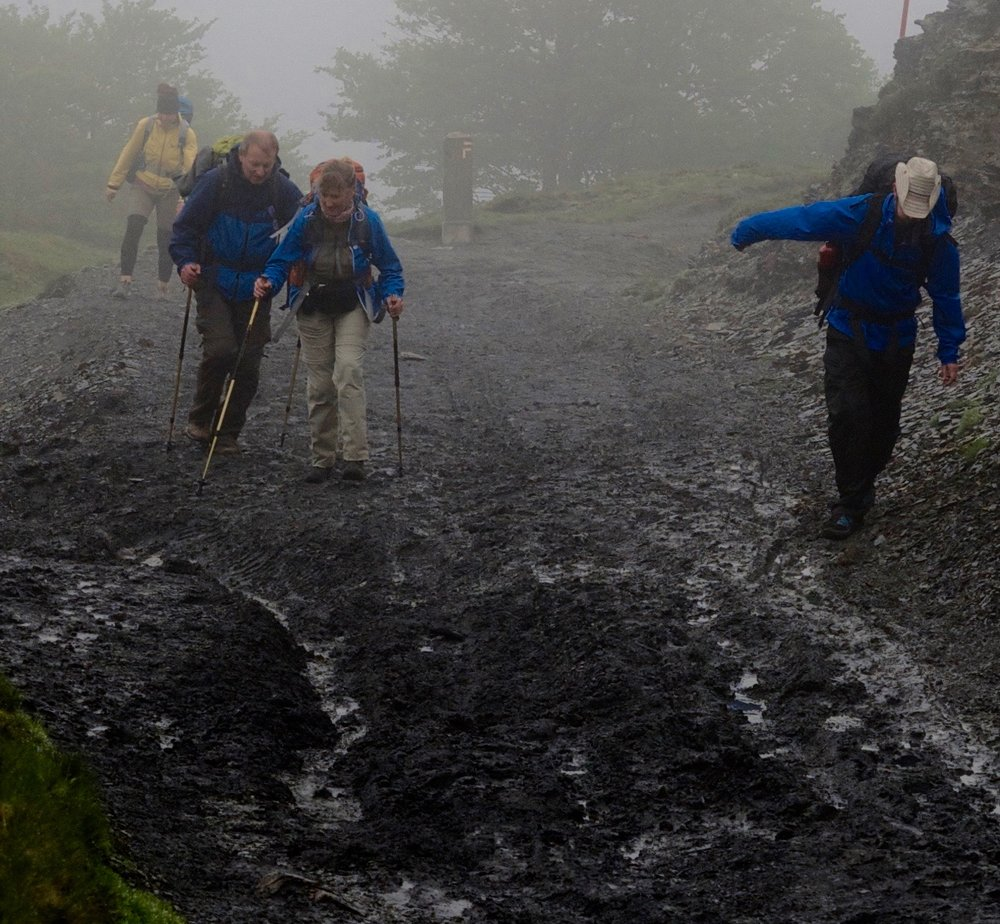 We were very thankful for our walking poles when we crossed the Pyrenees on this foggy day in May 2015. Even with poles, we were struggling, and we hope the cowboy made it without them!