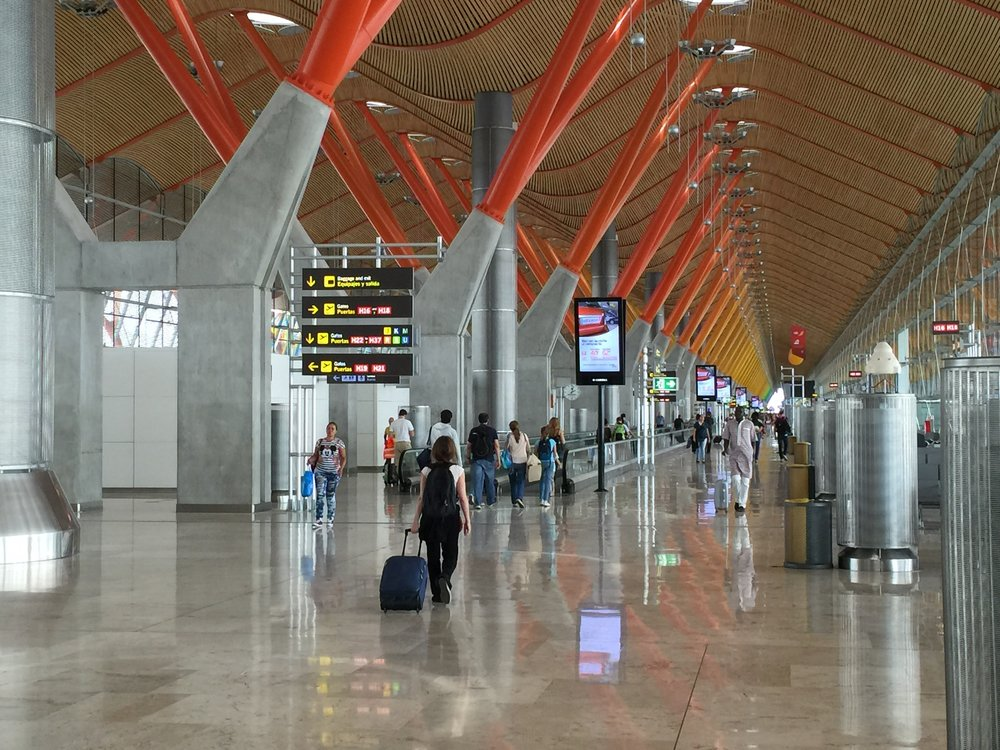 Madrid's beautiful Barajas airport is the most popular point of entry for non-EU travelers.
