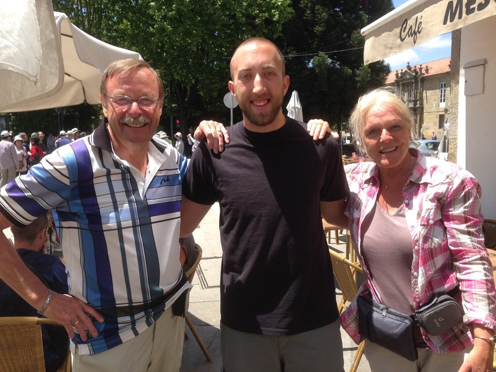 All Camino reunions are special, but this one might be the most miraculous of all: Hunter Van Wagenen is in the center, flanked by his Dutch friends, Gerry and Audrey.