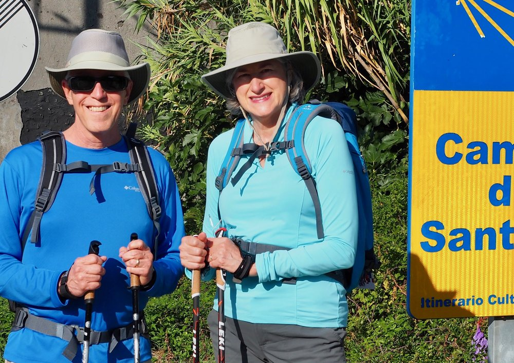 Wick and Helen Van Wagenen walking through Tui, Spain in 2016. (Camino Portugues route)
