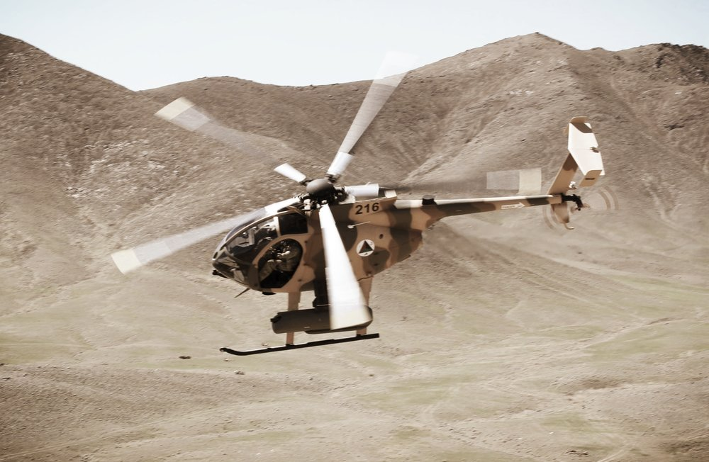 Our team-members training in an MD 530 in Afghanistan.