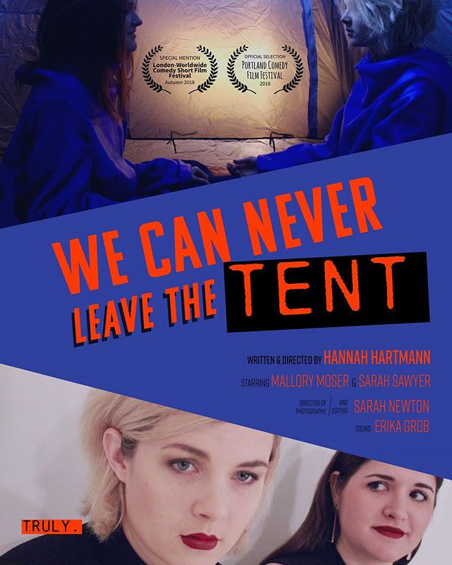 "IT'S OFFICIAL. We are so excited our short film WE CAN NEVER LEAVE THE TENT is showing tonight 10/10 at the Portland Comedy Film Festival! I had the best time writing for and directing these ladies @sarahesawyer and @mallory_moser! And filming with genius dp/editor @sarahnewton42, and lady of sound @e_grob. ""Stacey Hanks and Tanya Pitt have made a horror film, WE CAN NEVER LEAVE THE TENT. But this horror film is about a woman's life - from womb to tomb, we will never escape the cycle. Because we can never leave the tent, truly. Join Stacey and Tanya as they share clips and offer commentary on this important film."" Thanks @mikel.fair for selection!  #womeninfilm #femalefilmmaker #womensupportingwomen #feminist #womenincomedy #femaledirector"