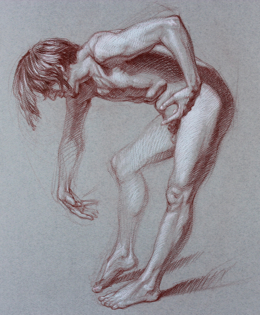 Figure Study of Vincent / Red Pencil on Paper / 16x19 / 2016 / Click for full image
