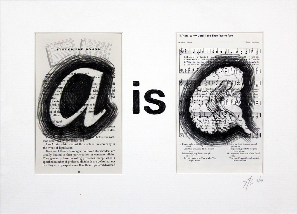 "A is A II / Black Pencil on Vintage Book Pages / 16.25x11.25"" w/ Mat / 2014 / Click for larger image"