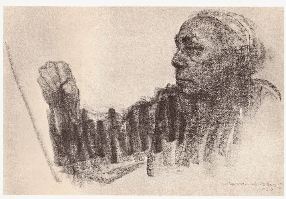 Self Portrait by Kathe Kollwitz / Charcoal on Paper / 1935