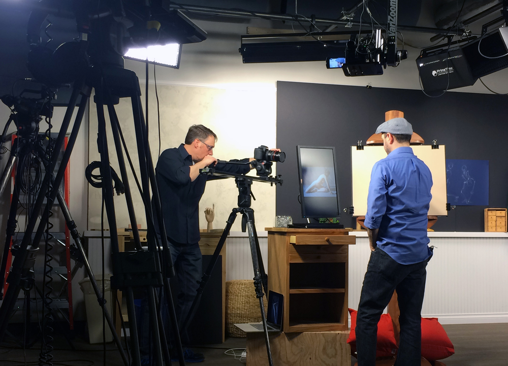 Garrett Evans filming Brent Eviston at F+W Media's studio in Fort Collins, Colorado